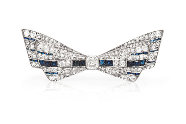 Bow Diamond Sapphire Pin Front View