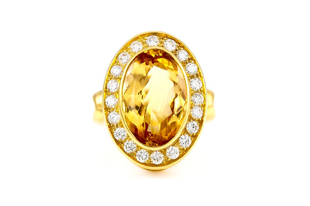 Citrine Gold Cocktail Ring with Diamonds  top