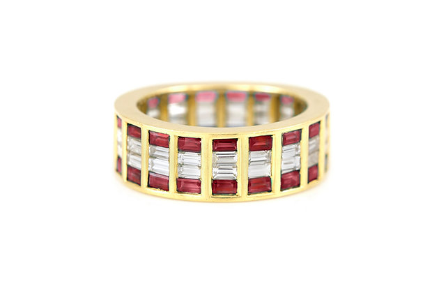 Pave Ruby Diamond Gold Wedding Band