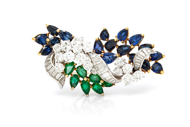 Diamond Emerald Sapphire Brooch Front View