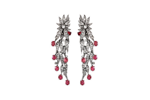 1960s Long Leafs Earring with Ruby and Diamond