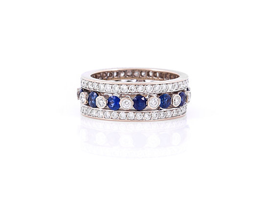 Sapphire and Diamond Eternity Wedding Band front view
