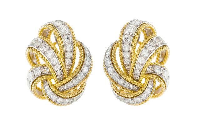 Van Cleef & Arpels 1950's Diamond and Gold Earrings