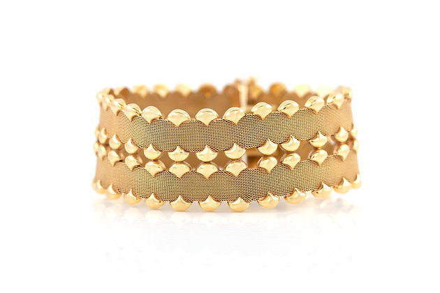 Two Row Mesh Gold Bracelet front