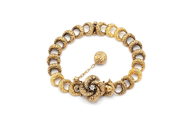 Victorian 14K Gold Link Bracelet with Filigree and a Diamond