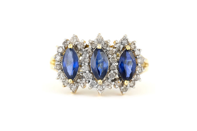 Pear Shaped Sapphires Ring with Diamonds top