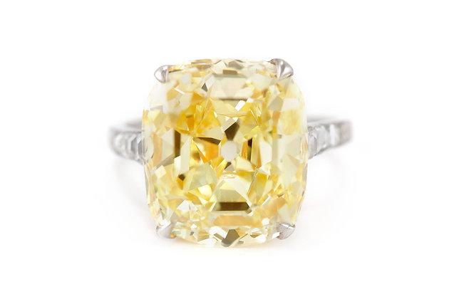 15.28 Carat GIA Fancy Intense Yellow Diamond Ring