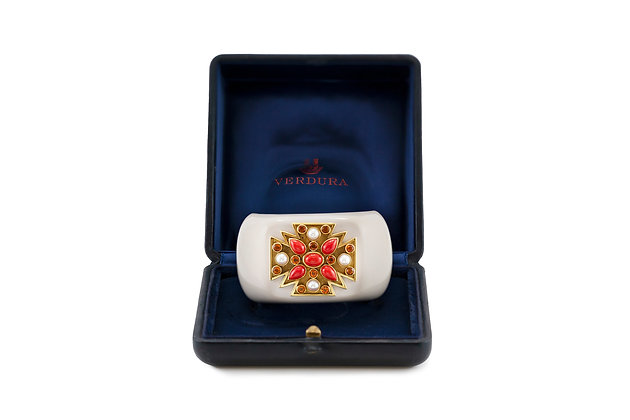 Cacholong Gold Coral Pearl and Citrine Maltese Cross Verdura Cuff