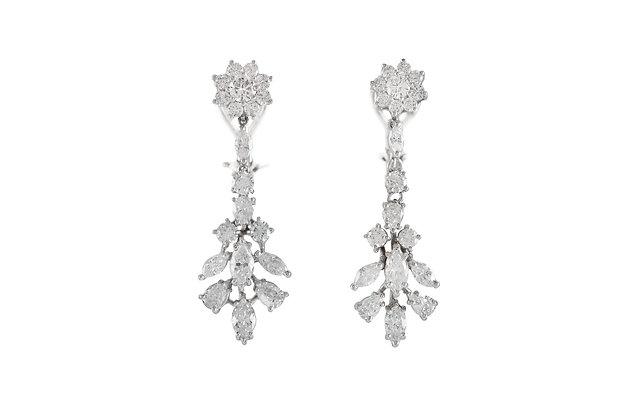 Diamond Flower Drop Earrings front view