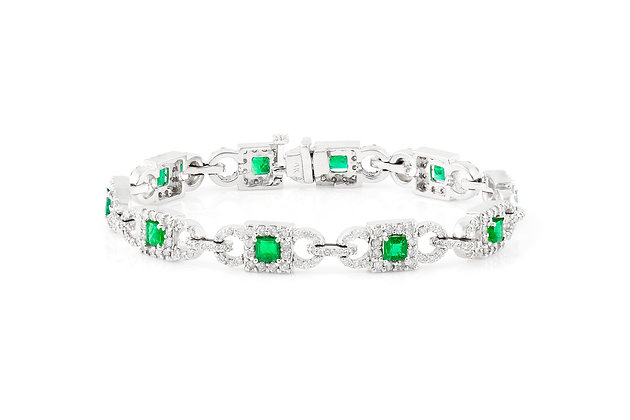 Square Emerald Cut and Diamond Line Bracelet front