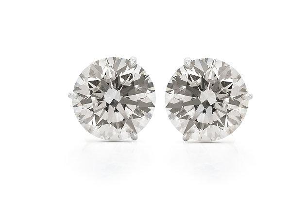 Diamond Stud Earrings Front View