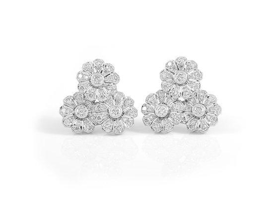 Diamond Flower Earrings front view