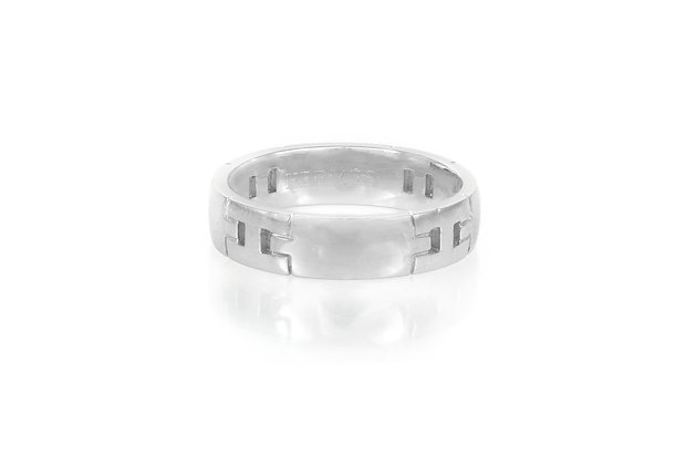 Hermès White Gold Hercules Band Ring front view