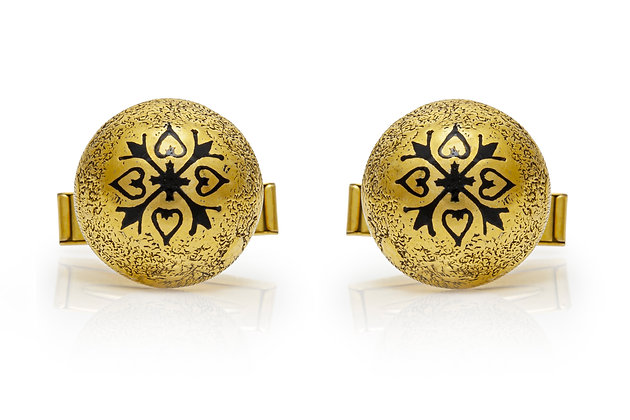 Round Cufflinks With Enamel Front View