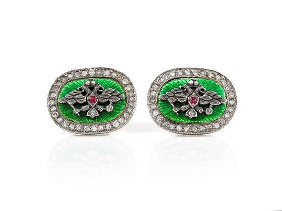 Green Enamel Cufflinks