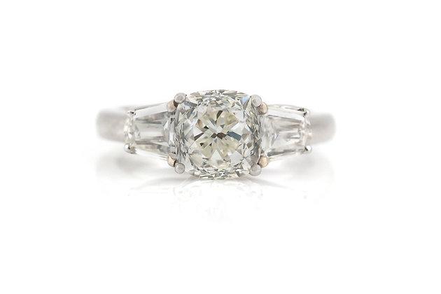 2.50 Carat Art Deco Engagement Ring top view