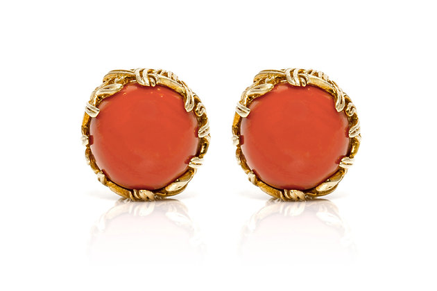 Tiffany & Co Coral Earrings Close-up View