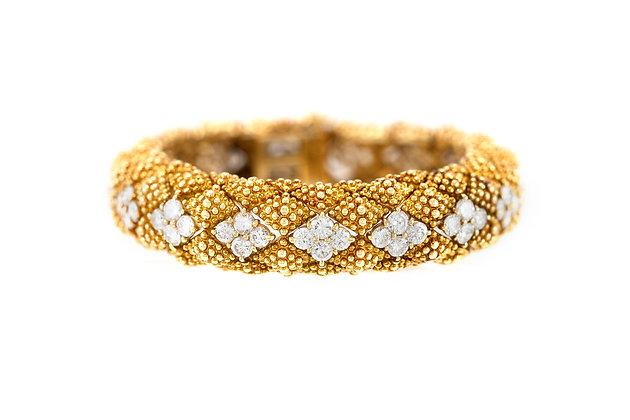 David Webb 1950s Gold Bracelet with Diamonds