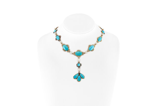 Turquoise Necklace with Pearls and Diamonds