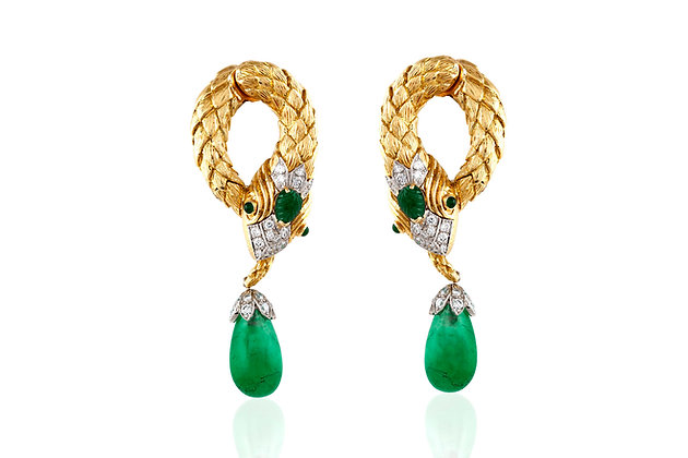 Snake Emerald And Diamond Earrings, By David Webb