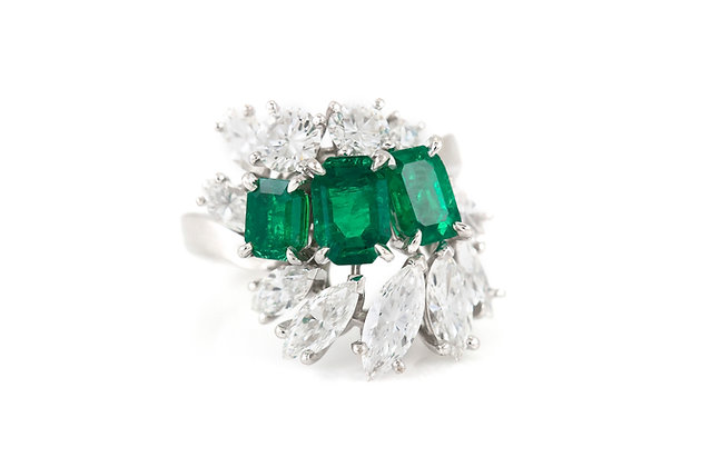 Meister 2.32 Carat Emeralds 2.84 Carat Diamonds Ring