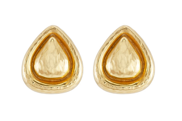 Hammered Gold Diamond Clip-On Earrings front