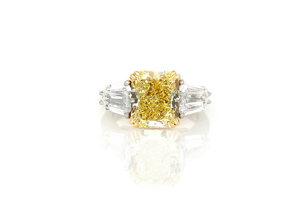 5.61 Carat Canary Diamond Engagement Ring top view
