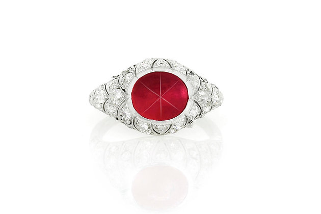 3.00 Cabochon Ruby & Diamond Ring