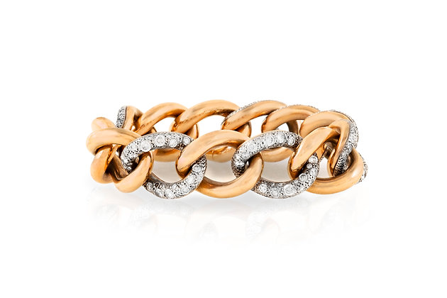 Pomellato Tango Curb Link Gold And Diamond Bracelet Front View