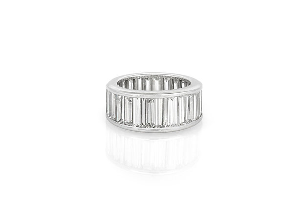 12.00 Carat Channel-Set Diamond Eternity Band Ring front view