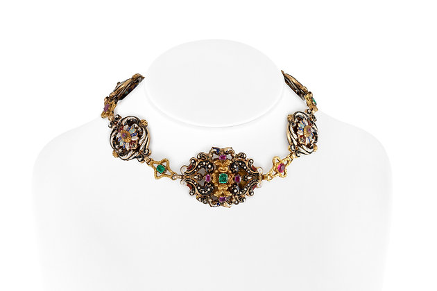 1890s Necklace with Colorful Stones and Enamel front view