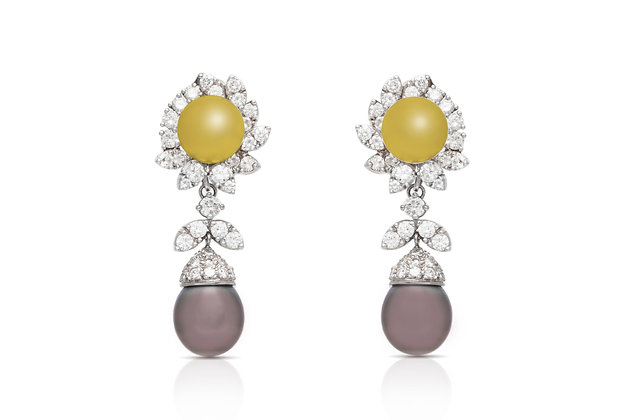 5.84 Carat Diamond and Tahitian Pearl Drop Earrings front view
