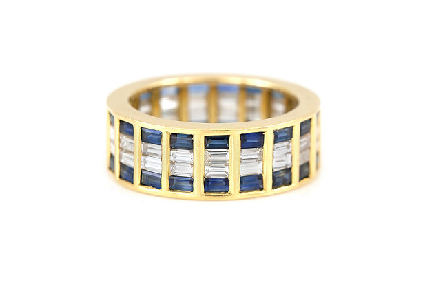 Pave 18 Karat Band with Sapphires and Diamonds front