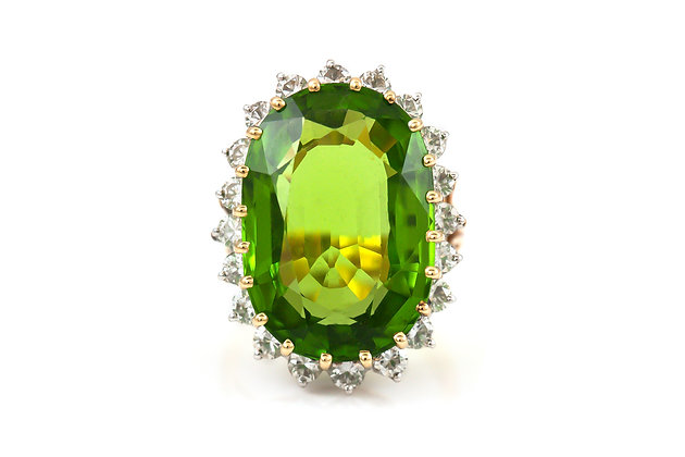 Peridot Cocktail Ring with Diamonds top