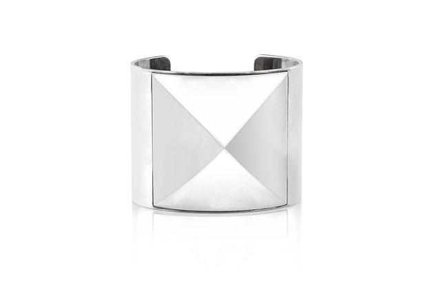 Hermès Espionne Silver Cuff Bracelet Front View