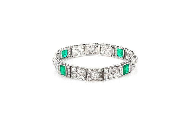 Art Deco Emerald & Diamond Bracelet overall view