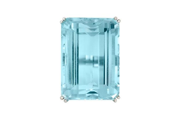 80.00 Carat Aquamarine Ring with 2.00 Carat Sapphires
