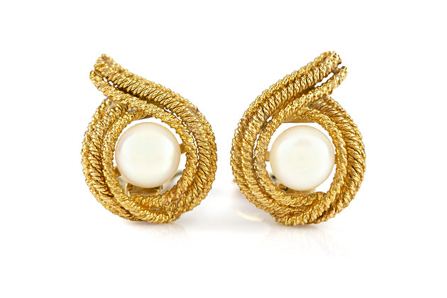 David Webb Yellow Gold Pearl Earrings front