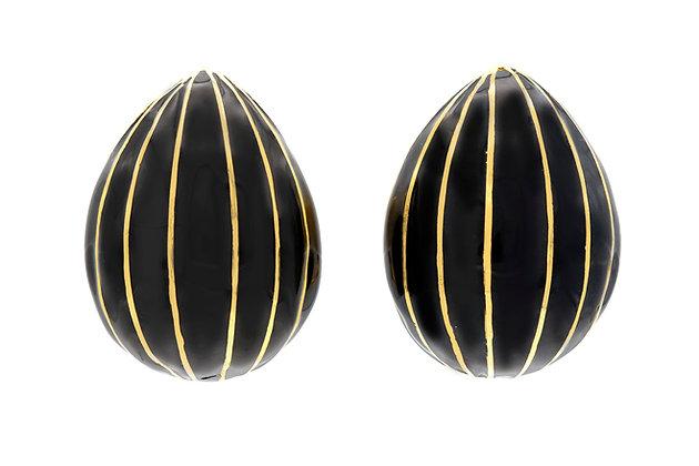 David Webb Gold and Black Enamel Almond Earrings