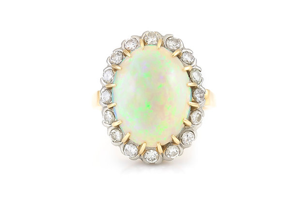 Opal Gold Ring with Diamonds top