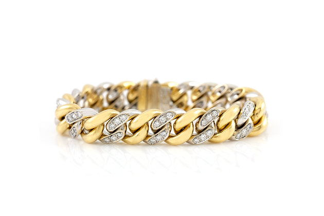 Pomellato Curb Link Gold And Diamond Bracelet front