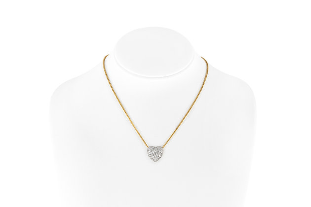 Heart Shaped Diamond Pendant Necklace Real Size View