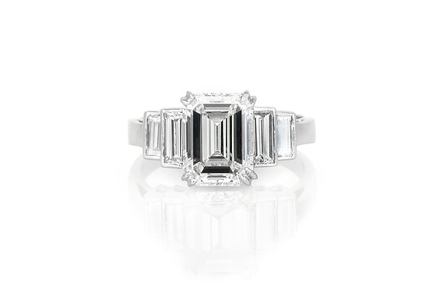 3.01 Carat Emerald Cut Engagement Ring front view