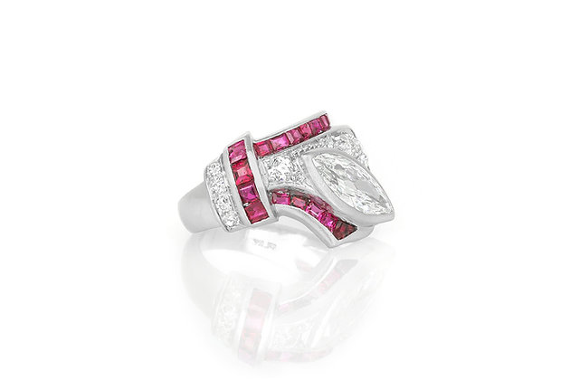 Ruby and Diamond Ring top view