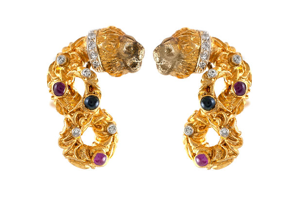 Zolotas Diamond Ruby and Emerald Earrings front