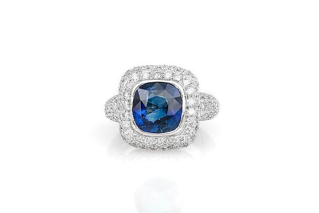 5.36 Cushion Cut Sapphire Ring top view