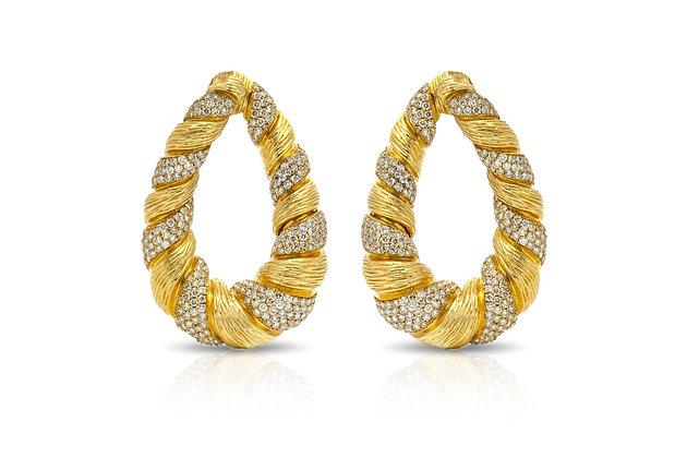 Diamond Gold Hoop Earrings Front View