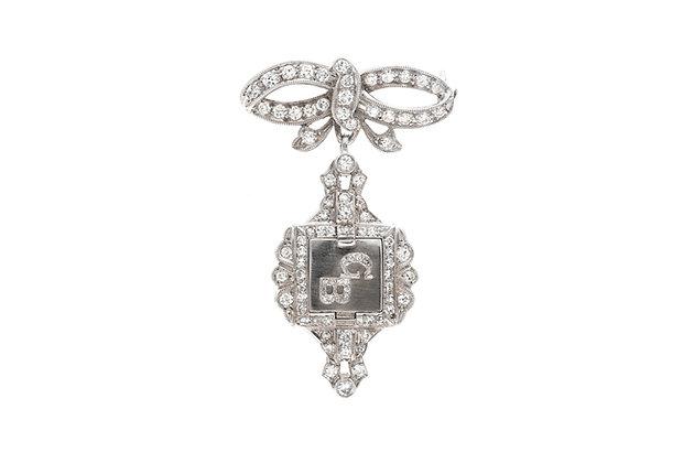 Art Deco Diamond Watch Pin