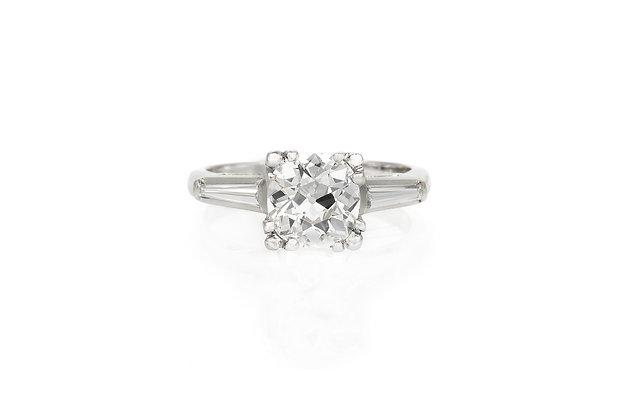 1.45 Carat Art Deco Engagement Ring top view