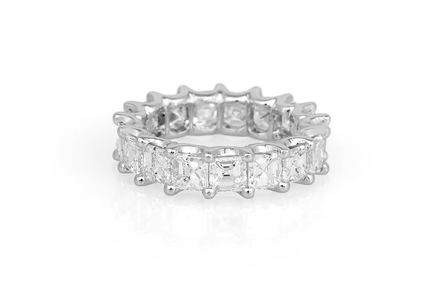 8.12 Square Emerald Cut Diamond Eternity Band